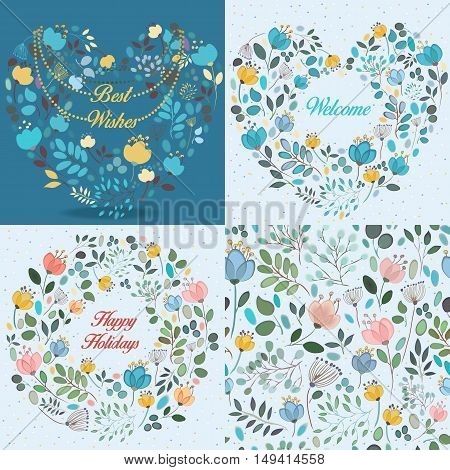 Spring cards with floral patterns. Floral hearts and round pattern with texts - Best wishes Welcome Happy holidays. Floral seamless pattern. Graceful watercolor flowers and plants. Vintage cards