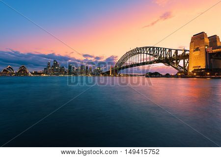 Long exposure Sydney Harbour Sydney Australia at sunset.Sep 29,2016 Sydney Harbour is beautiful meandering waterway,famous around the word.
