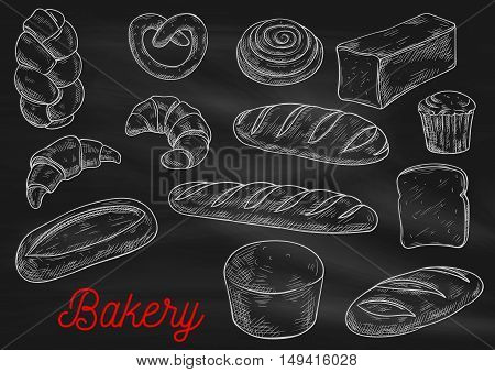 Bread sorts and bakery products. Vector chalk sketch on blackboard. Rye bread, ciabatta, wheat bread, muffin, bun, bagel, sliced bread, french baguette croissant pretzel