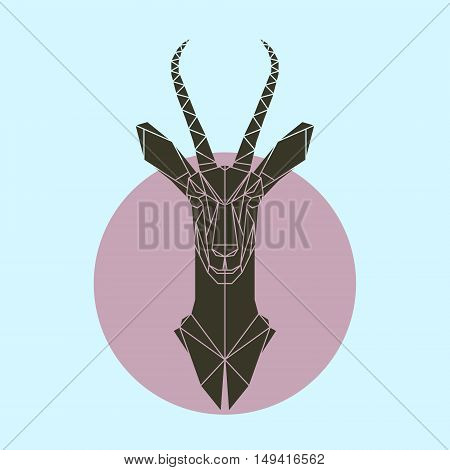 Antelope in polygonal style. Triangle vector illustration of animal for use as a print on t-shirt and poster. Geometric low poly antelope design. Flat gazelle icon.