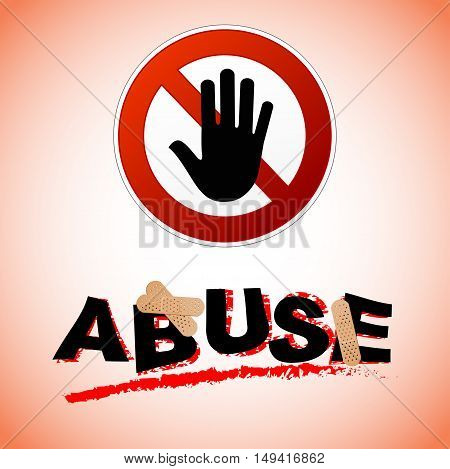 Illustration of stop abuse concept with text