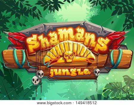 Jungle shamans vector start page cute illustration