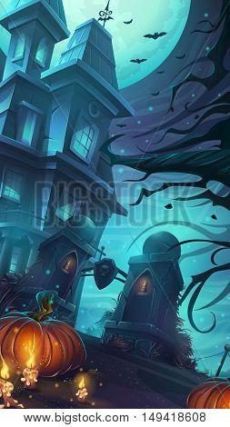 Scary horrible Halloween party - cartoon vector illustration