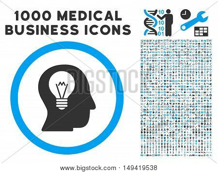 Intellect Bulb icon with 1000 medical business gray and blue vector pictographs. Collection style is flat bicolor symbols white background.
