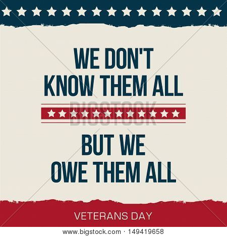 Vector quote We dont know them all. But we owe them all Veterans day poster. poster