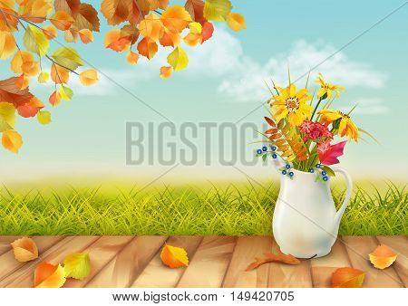 Vector autumn day natural background with floral bouquet in ceramic jug, fall leaves, textured wooden floor against blue sky