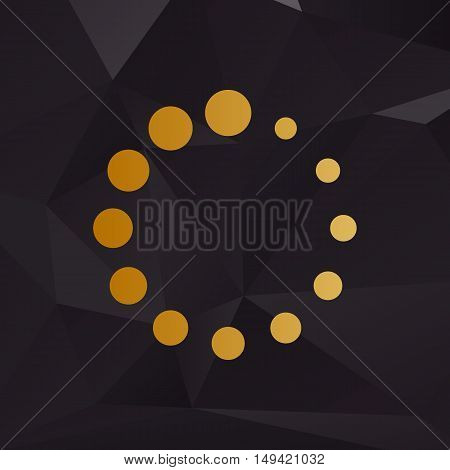 Circular Loading Sign. Golden Style On Background With Polygons.