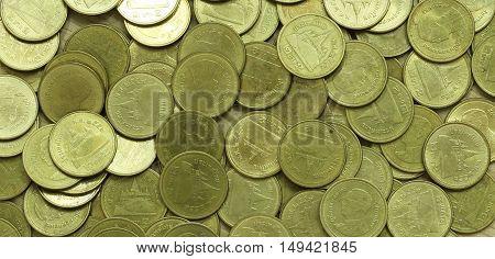 Thai Baht Coins. Coins Of Thailand. Many Of Thai Baht Coins Background