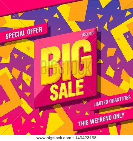 Big sale banner template design. Special offer, limited quantities.