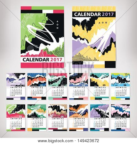 2017 year calendar with contemporary style art vector illustration