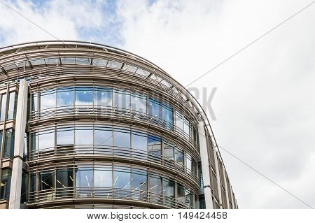 LONDON UK - AUGUST 21 2015: Detail of curtain wall in a modern office building in the city of London