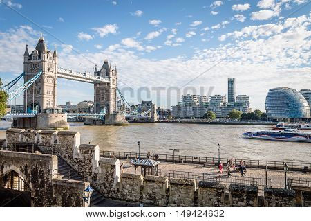 LONDON UK - AUGUST 21 2015: London Cityscape from the Tower of London with the bridge and the new City Hall designed by Norman Foster