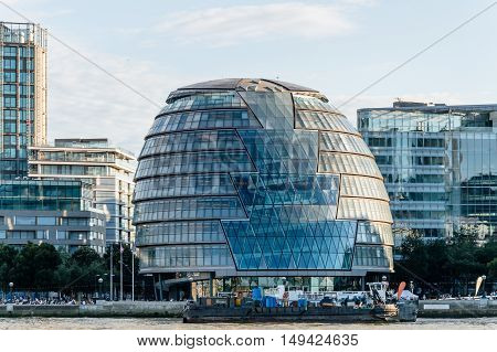 LONDON UK - AUGUST 21 2015: London skyline with Thames river and City Hall designed by the architect Norman Foster.
