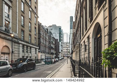 LONDON UK - AUGUST 22 2015: View of Craven Street in London. Empty at evening.