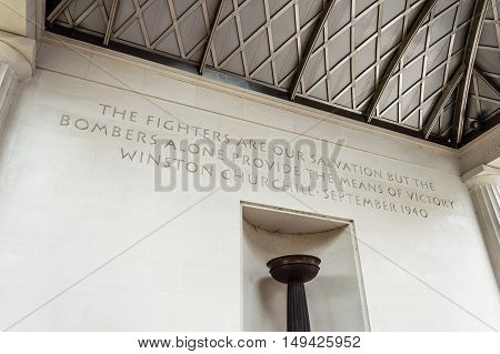 London UK - August 19 2015: The Bomber Command Memorial commemorates the 55573 who died while serving in the Bomber Command during the Second World War.