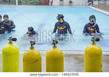 SCUBA COURSE AUGUST 5 2016 : Training clear mask underwater scuba course at pool in navy hospital on the August 5 2016 in BANGKOK THAILAND