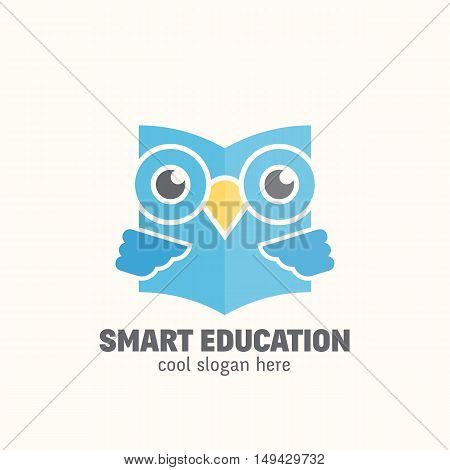 Smart Education Abstract Vector Logo Template. Learning Emblem. Flat Style Wise Owl Reading Book Concept with Typography. Isolated.