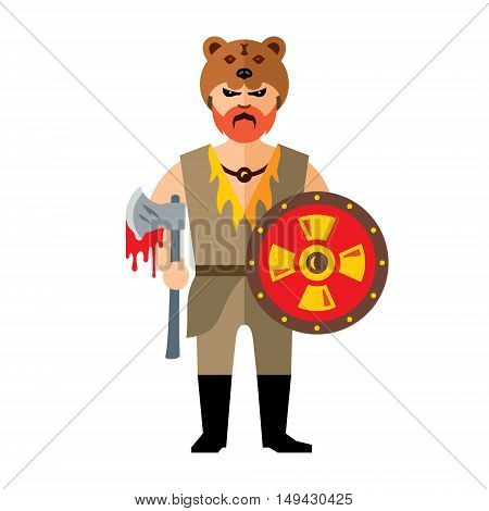 Barbarian Warrior with ax and shield. Isolated on a white background