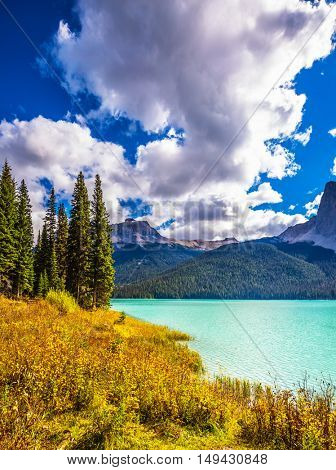 The concept of eco-tourism and active recreation. Yoho National Park in Canada. Sunny day in autumn. Mountain Emerald lake in the wooded mountains