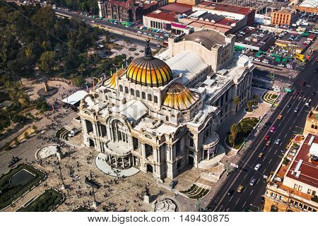 Metropolitan Cathedral and President's Palace in Zocalo, Center of Mexico City