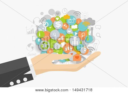 Business concept: Businessman showing cloud of application. Vector illustration.