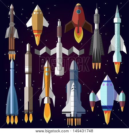 Icons set of space rockets. Vector symbol of spaceship, shuttle and spacecraft. space travel. Illustration isolated