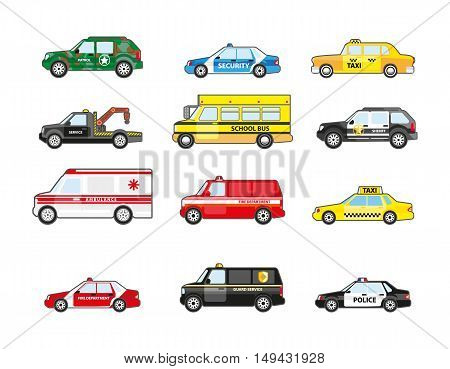 Set of different types transportation icons. Transport for emergency truck and taxi, police and ambulance, school bus and patrol. Flat design. Vector illustration isolated on white background.