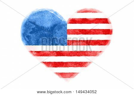 Poster of watercolor heart shape United State of America flag. I Love USA red and blue isolated heart symbol on white background. Watercolor heart with American flag. Vector Illustration