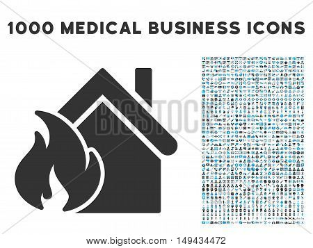 Realty Fire Disaster icon with 1000 medical commerce gray and blue vector pictograms. Clipart style is flat bicolor symbols, white background.