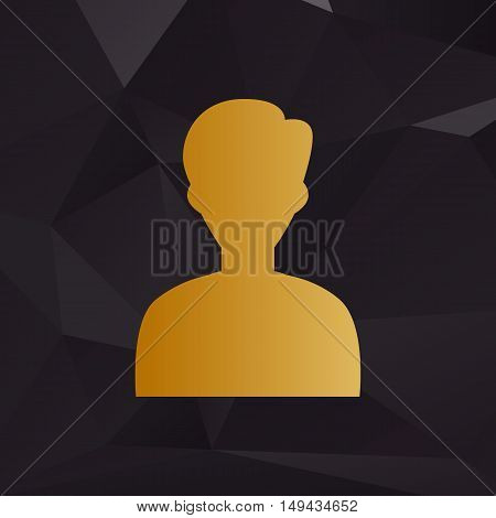 User Avatar Illustration. Anonymous Sign. Golden Style On Background With Polygons.