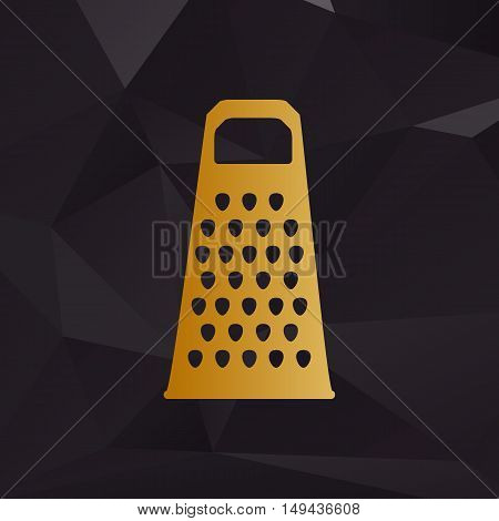 Cheese Grater Sign. Golden Style On Background With Polygons.