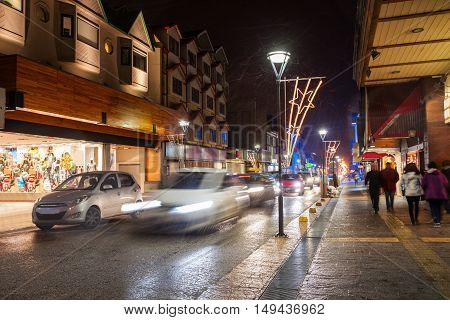Night Street In Ushuaia