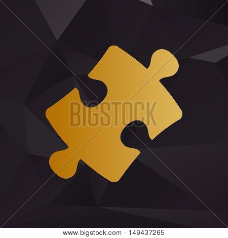 Puzzle Piece Sign. Golden Style On Background With Polygons.