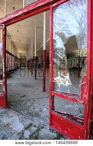 PRIMORSKO BULGARIA - SEPTEMBER 6 2016: Part of dilapidated building interior
