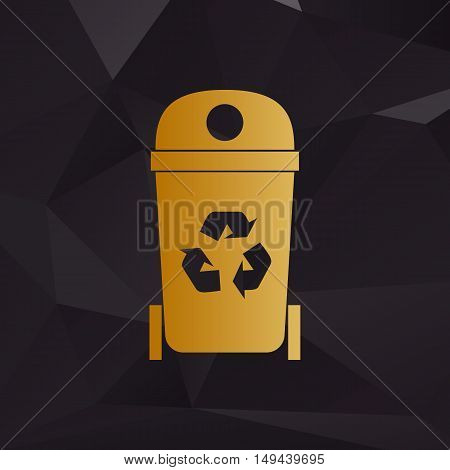 Trashcan Sign Illustration. Golden Style On Background With Polygons.