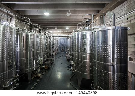 Wine Fermenting In Vats
