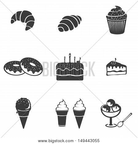 Pastry set icon. Pastry set Vector icons isolated on white background. Flat vector illustration in black. EPS 10