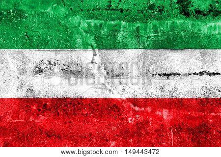 Flag Of North Rhine-westphalia, Germany, Painted On Dirty Wall