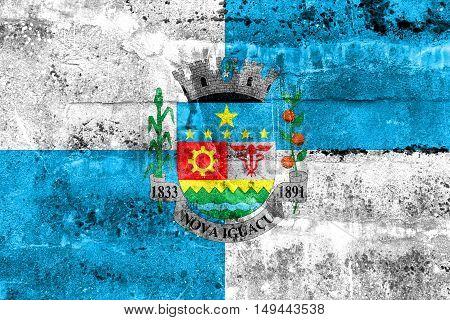 Flag Of Nova Iguacu, Brazil, Painted On Dirty Wall