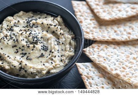 Bowl Of Baba Ghanoush With Matzo