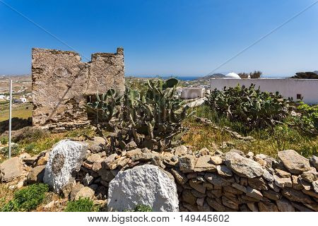 The ruins of a medieval fortress, Mykonos island, Cyclades, Greece