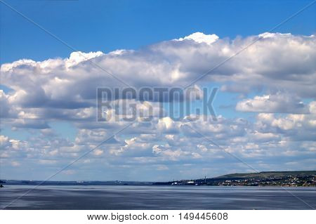 Great Russian Volga river on the background of the city Syzran
