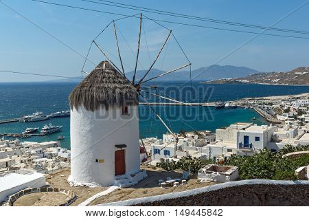 Panorama with white windmill and island of Mykonos, Cyclades, Greece
