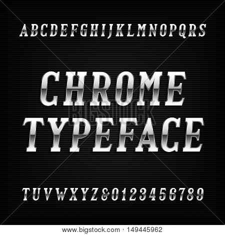Chrome alphabet font. Metal effect italic letters and numbers on a dark background. Vector typeface for your design.