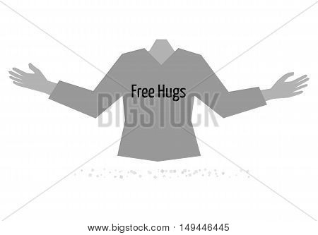 Free hugs and torso of body with wide open hands ready for free hug. Illustration of free hugs in flat style. Illustration contains text: Free Hugs