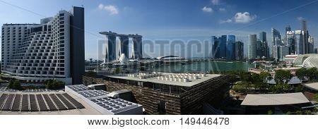 SINGAPORE, 2 April 2016 - Singapore's Marina Bay Sands hotel and city skyline