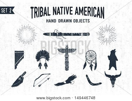 Hand drawn tribal icons set with flutes headdress totem pole dream catcher grizzly bear knife bow eagle boomerang and buffalo skull vector illustrations.