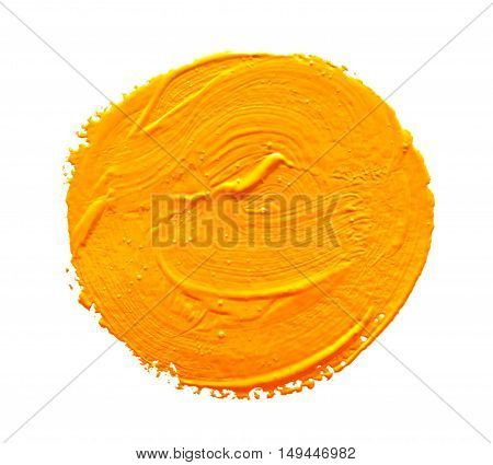 Ochre round strokes of the paint brush isolated on a white