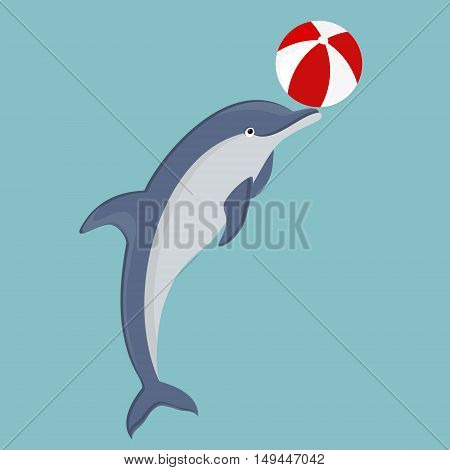 Vector illustration jumping dolphin playing with ball isolated on blue background. Dolphin icon. Beach summer ball. Sea creature