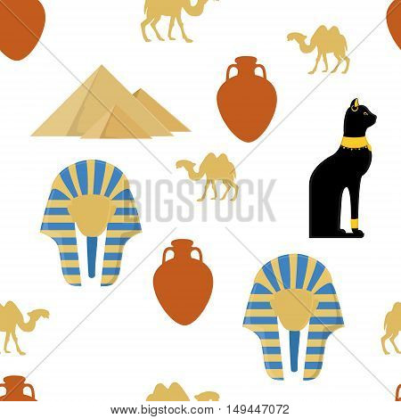 Vector illustration egypt seamless pattern with symbols of Egypt. Egypt cat giza pyramids amphora camel and pharaoh mask